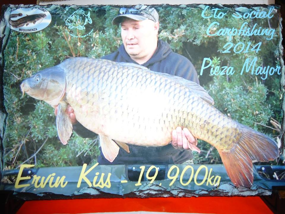Ervin Kiss of Team Idella with the biggest catch of 19.9 kg carp in Mequinenza Carpfishing SDP El Siluro Spain